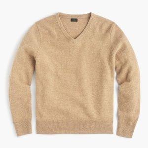 J Crew Lambswool Slim V-Neck Sweater in Tan